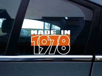 Made in 19?? (custom year) made in 70s theme sticker novelty retro classic car V128
