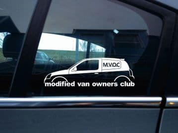 MVOC modified van owners club sticker -for Renault Clio van mk2 facelift, rs 182