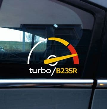 Turbo B235R, boost gauge themed sticker -for Saab 9-5 aero Turbo 2.3 /9-3 viggen