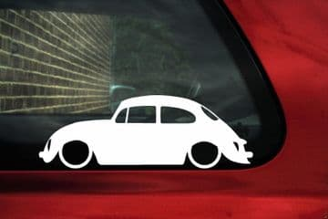 x2 Lowered car silhouette stickers for Classic VW beetle type 1 L184