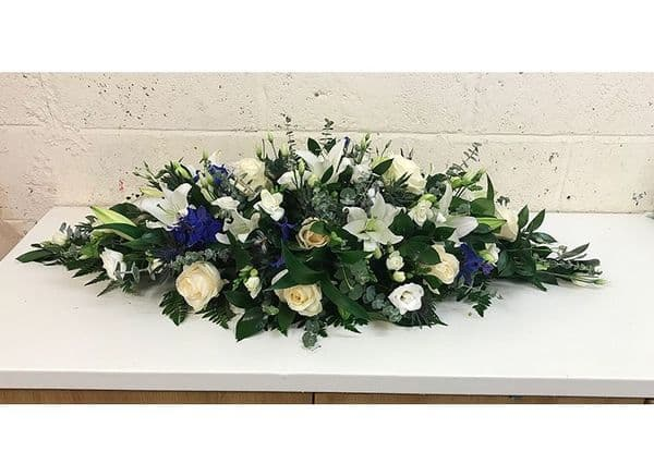 White and Blue Coffin Spray