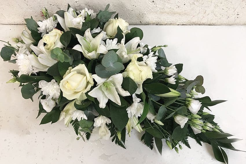 White Single Ended Spray by Paul J King Flowers Essex